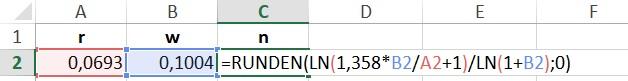 Formel in Excel