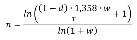 n = ln( (1-d)*1,358*w/r + 1) / ln(1 + w)