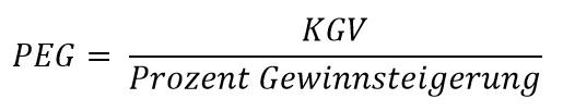 PEG = KGV : Prozent Gewinnsteigerung