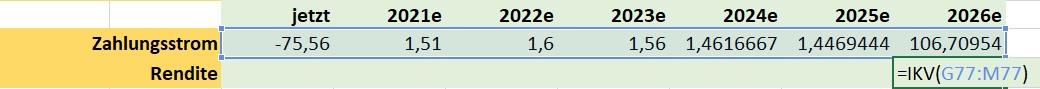 Excel zu Aurubis Berechnung der Rendite des Zahlungsstroms mittels der Funktion IKV